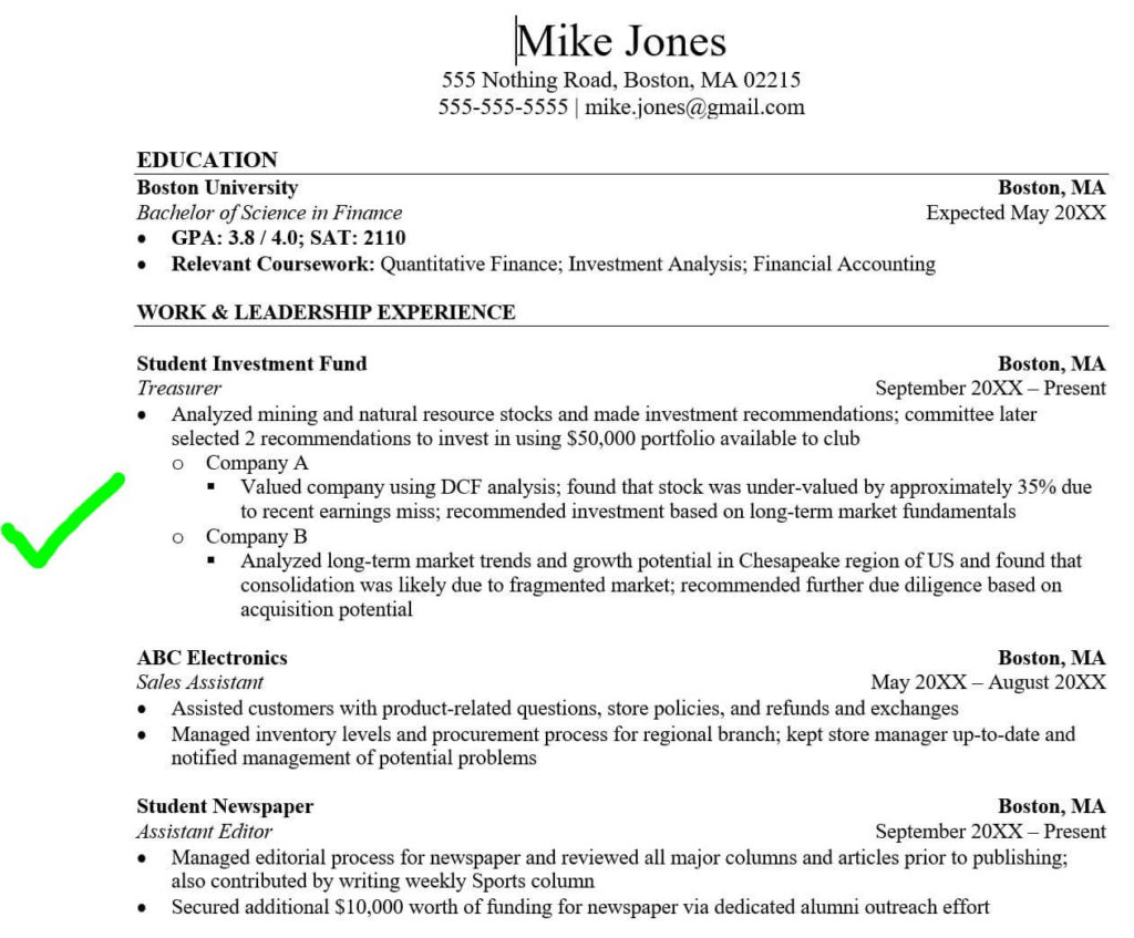 3 tricks to hack your investment banking resume  with no