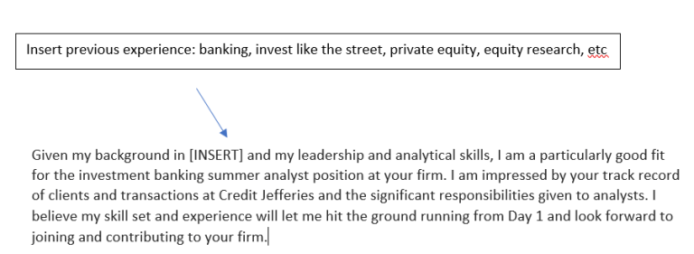insert previous experience in banking or investment